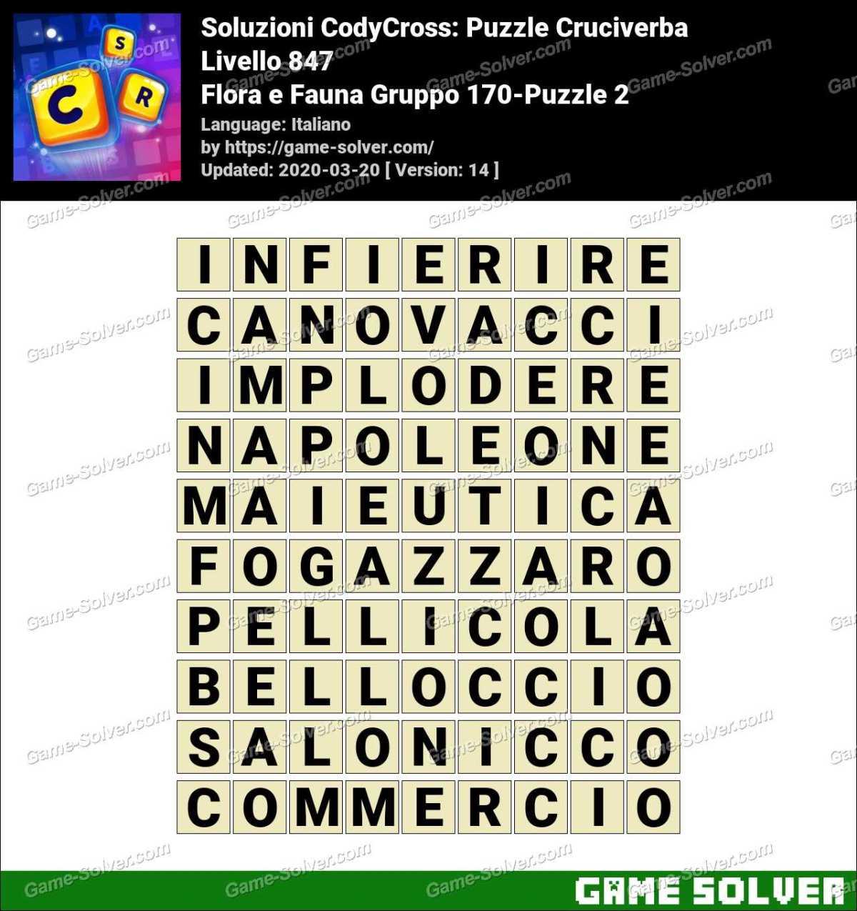 Soluzioni CodyCross Flora e Fauna Gruppo 170-Puzzle 2