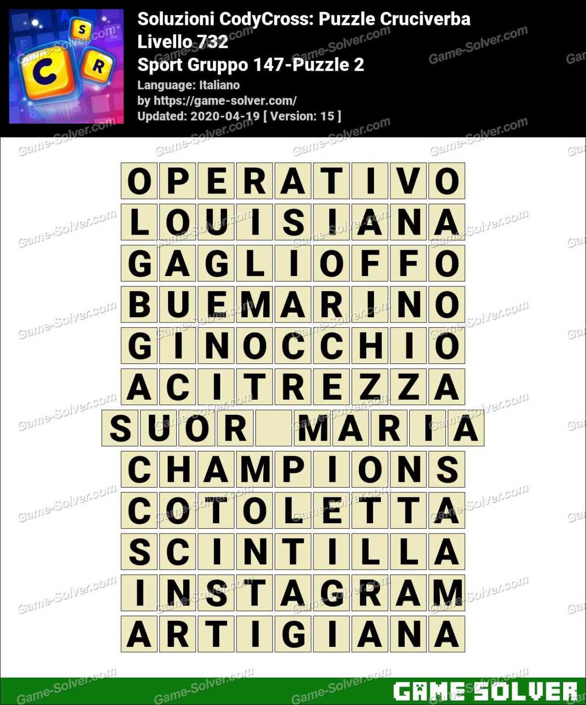 Soluzioni CodyCross Sport Gruppo 147-Puzzle 2