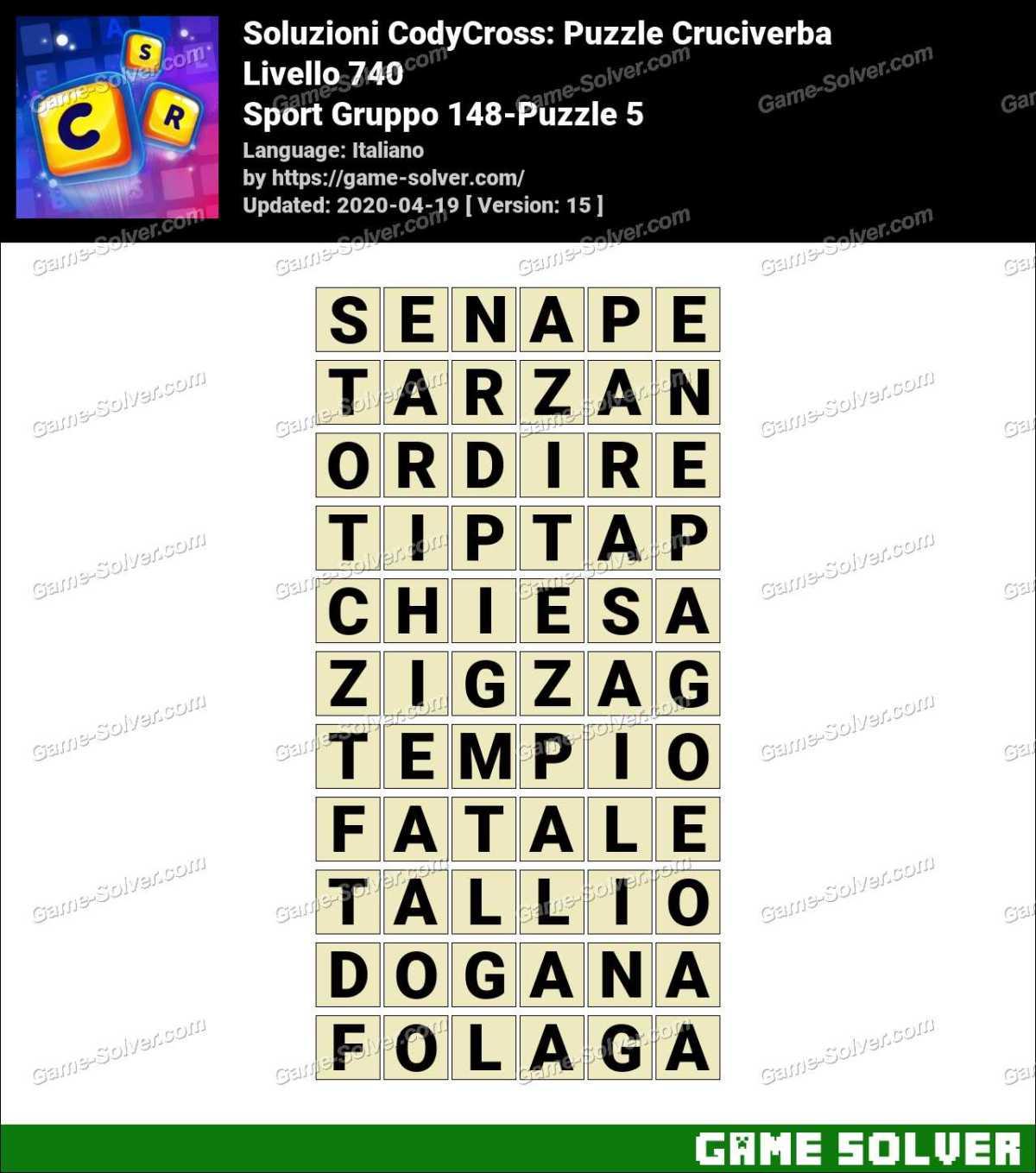 Soluzioni CodyCross Sport Gruppo 148-Puzzle 5