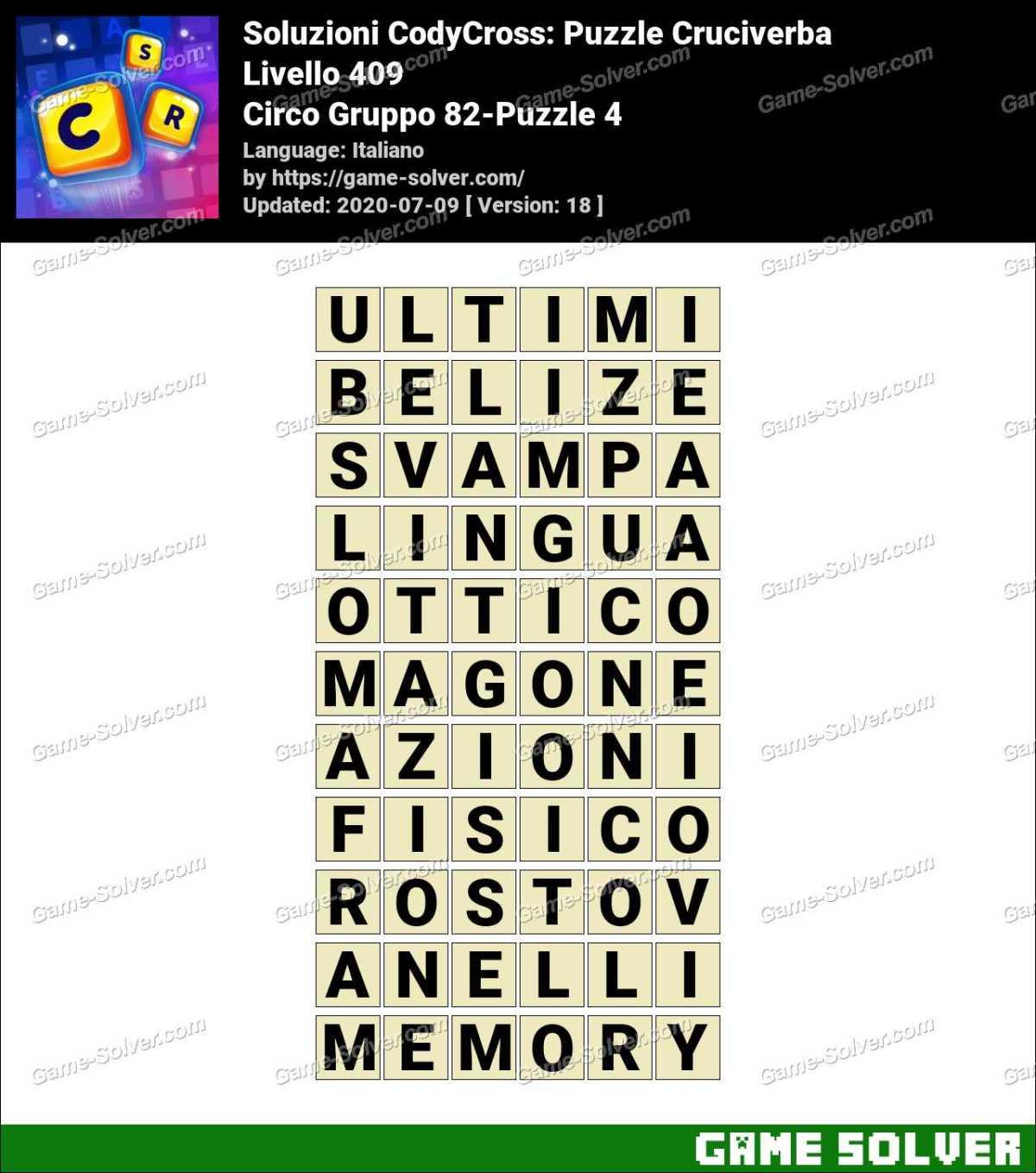 Soluzioni CodyCross Circo Gruppo 82-Puzzle 4