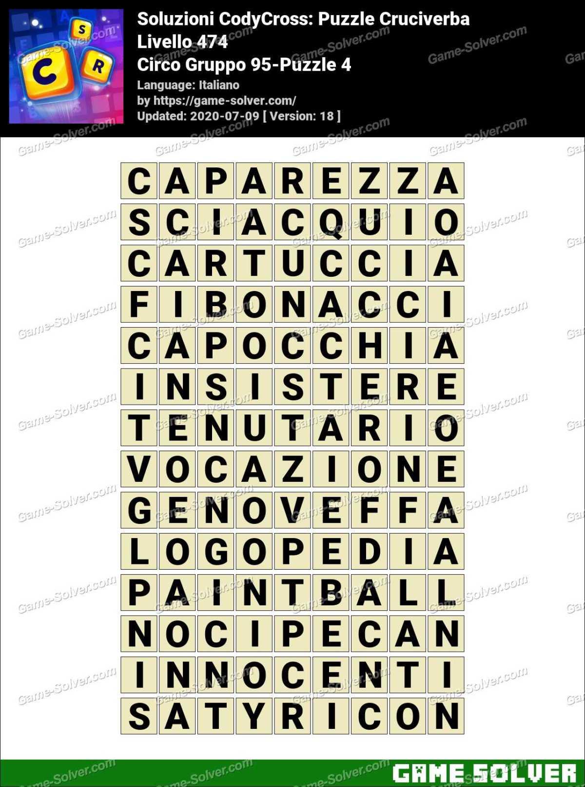 Soluzioni CodyCross Circo Gruppo 95-Puzzle 4
