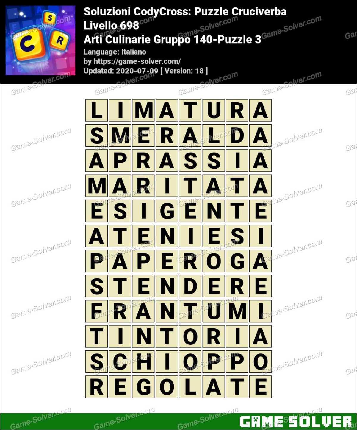 Soluzioni CodyCross Arti Culinarie Gruppo 140-Puzzle 3