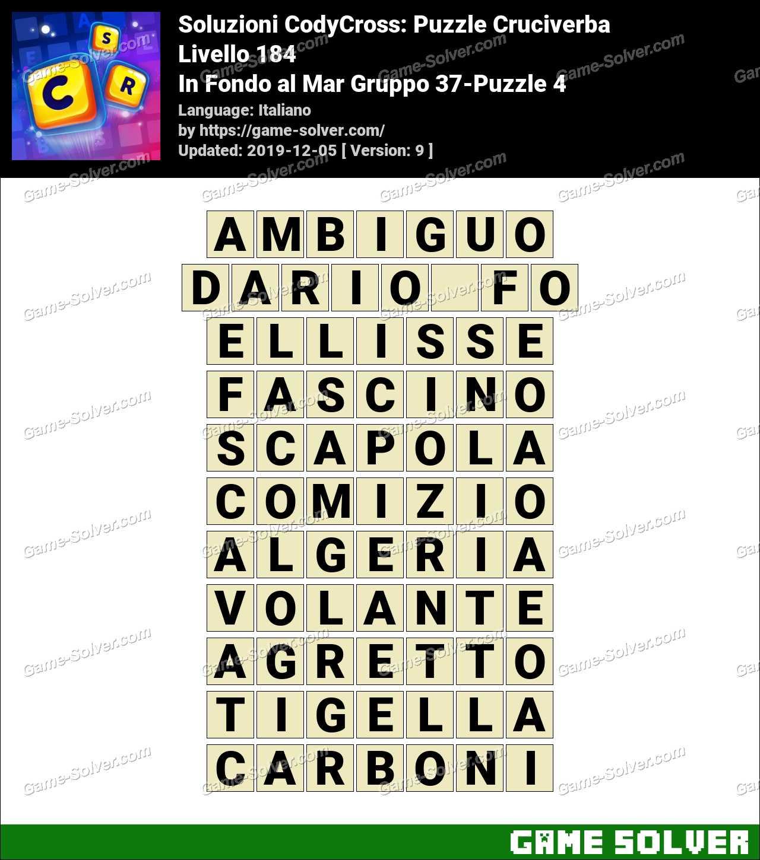 Soluzioni CodyCross In Fondo al Mar Gruppo 37-Puzzle 4