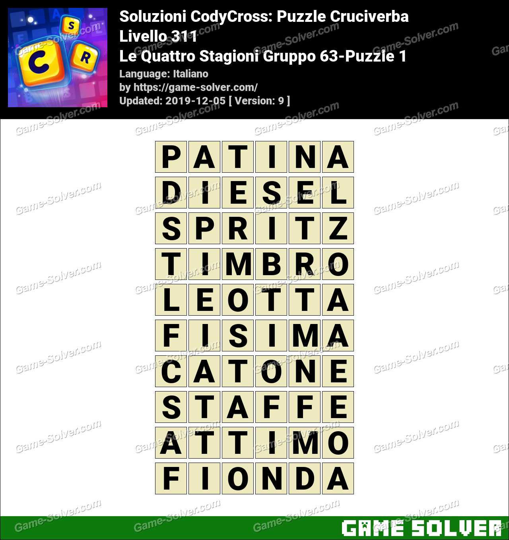 Soluzioni CodyCross Le Quattro Stagioni Gruppo 63-Puzzle 1
