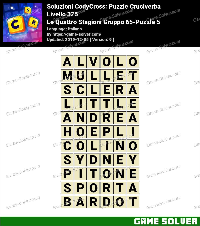 Soluzioni CodyCross Le Quattro Stagioni Gruppo 65-Puzzle 5