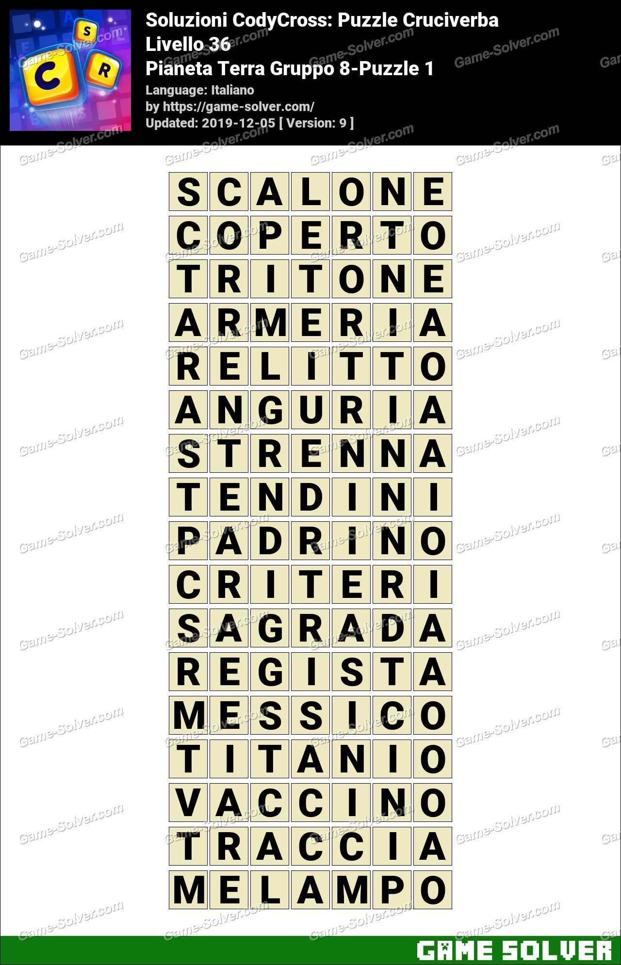 Soluzioni CodyCross Pianeta Terra Gruppo 8-Puzzle 1