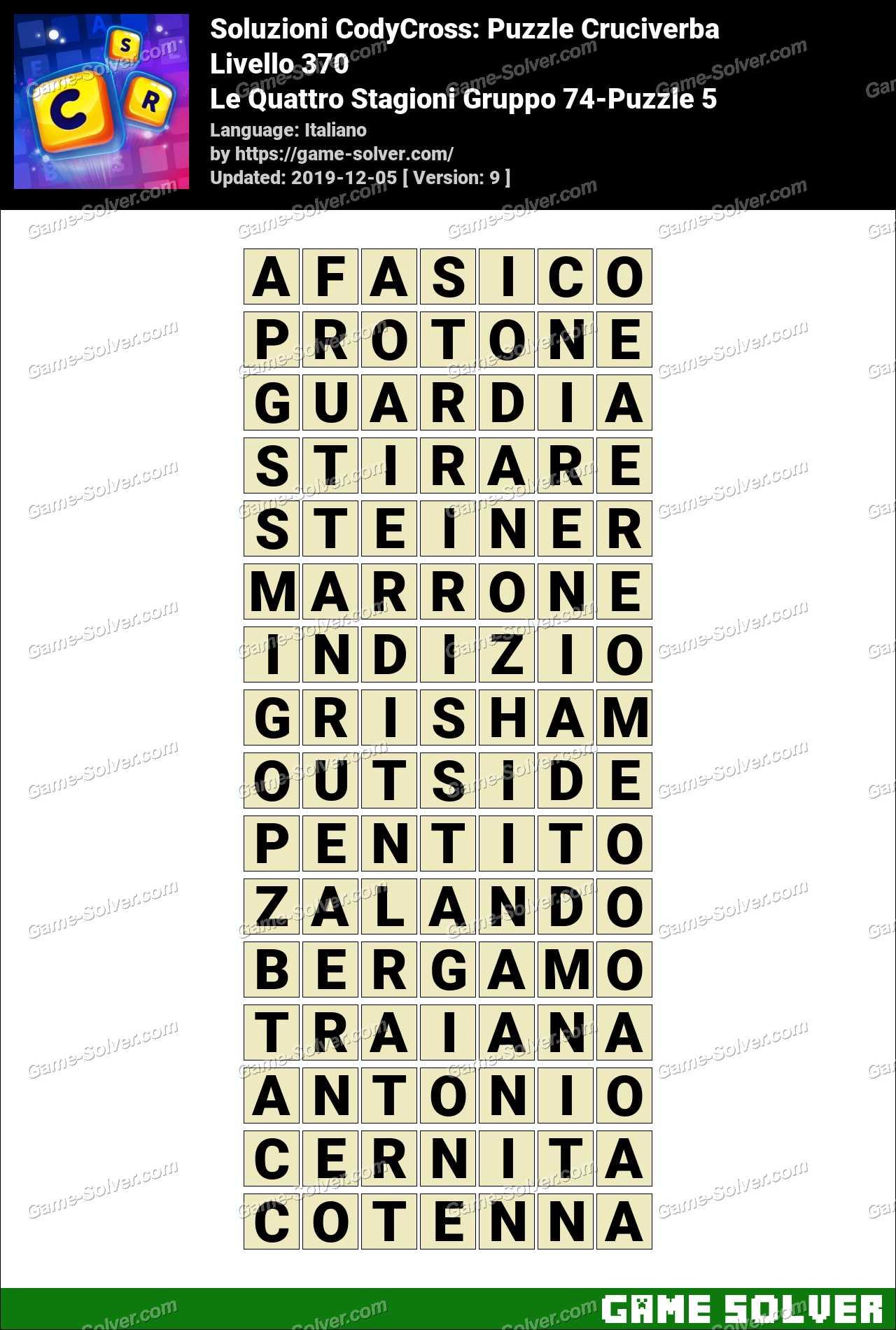 Soluzioni CodyCross Le Quattro Stagioni Gruppo 74-Puzzle 5