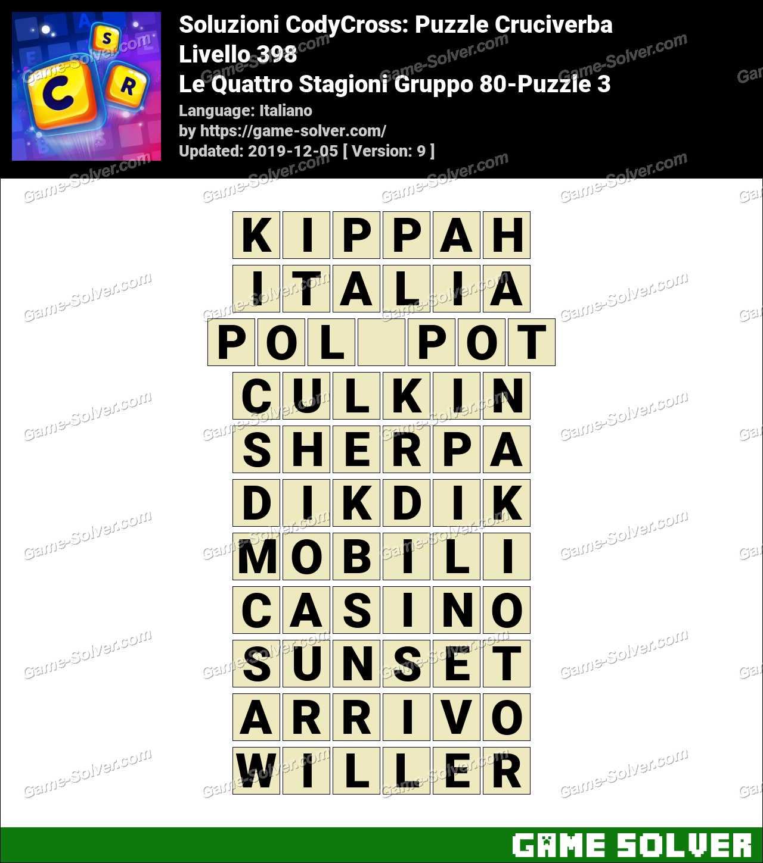 Soluzioni CodyCross Le Quattro Stagioni Gruppo 80-Puzzle 3