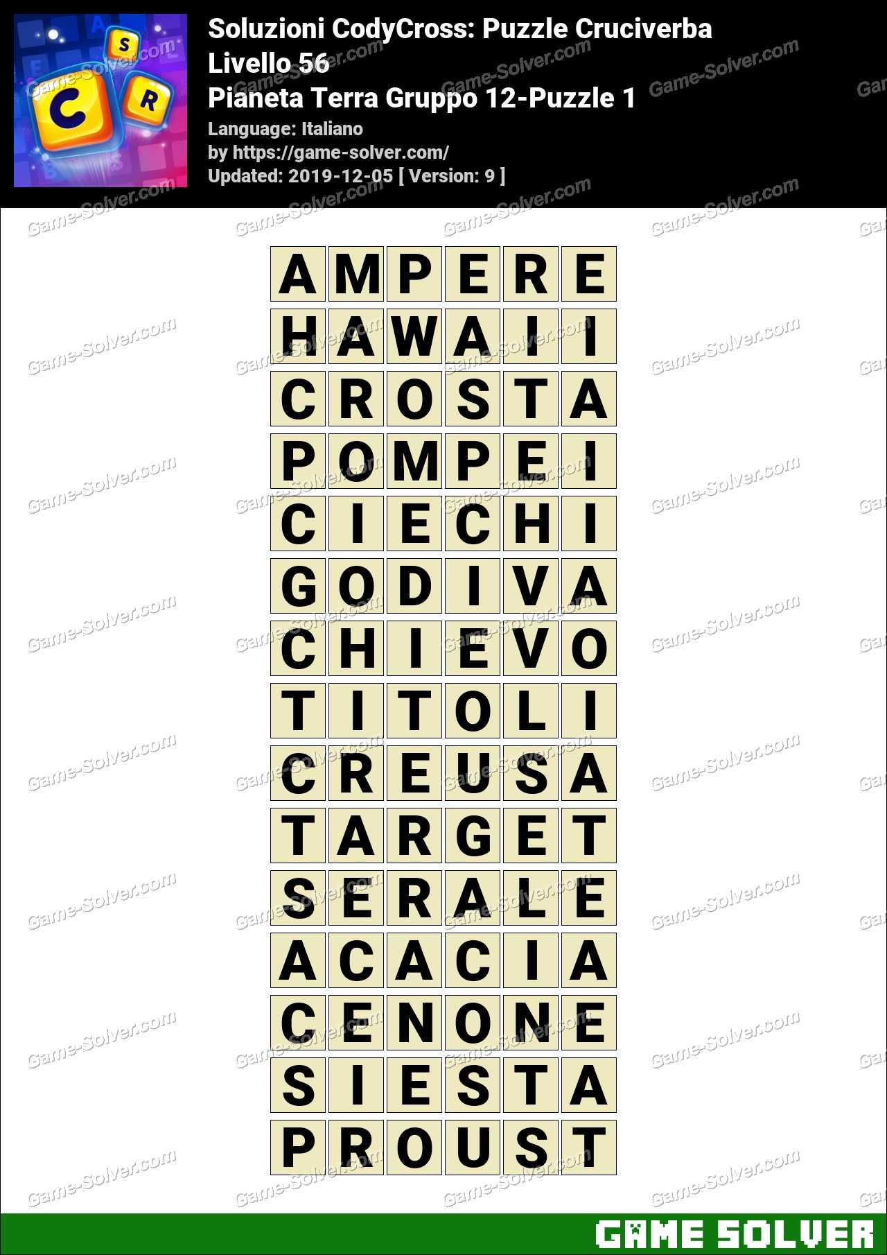 Soluzioni CodyCross Pianeta Terra Gruppo 12-Puzzle 1