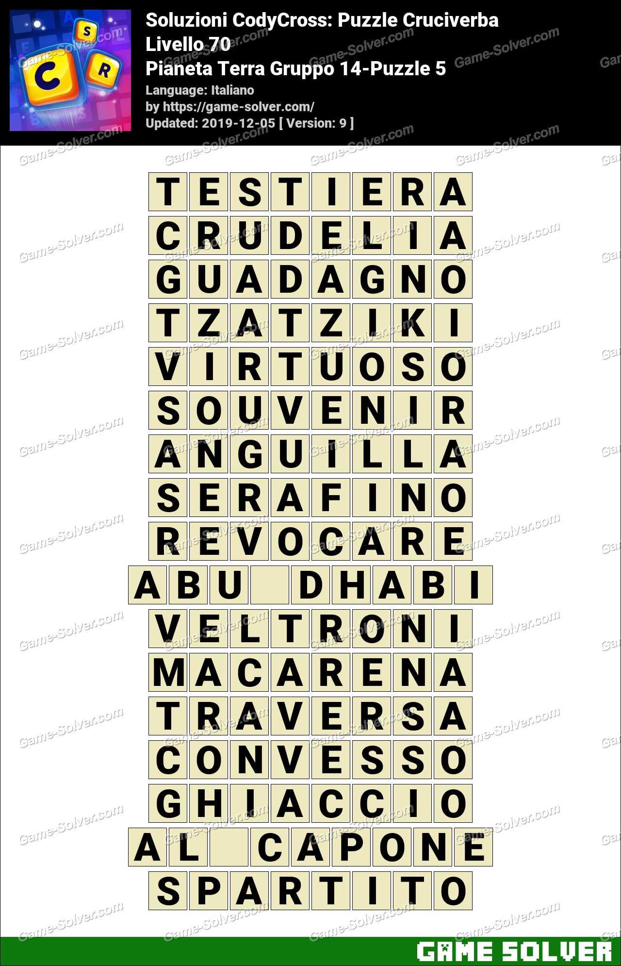 Soluzioni CodyCross Pianeta Terra Gruppo 14-Puzzle 5