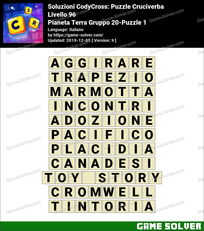 Soluzioni CodyCross Pianeta Terra Gruppo 20-Puzzle 1