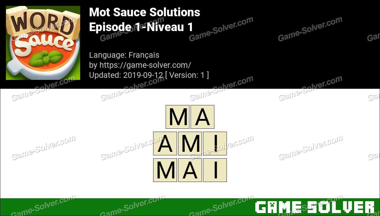 Mot Sauce Episode 1-Niveau 1 Solutions