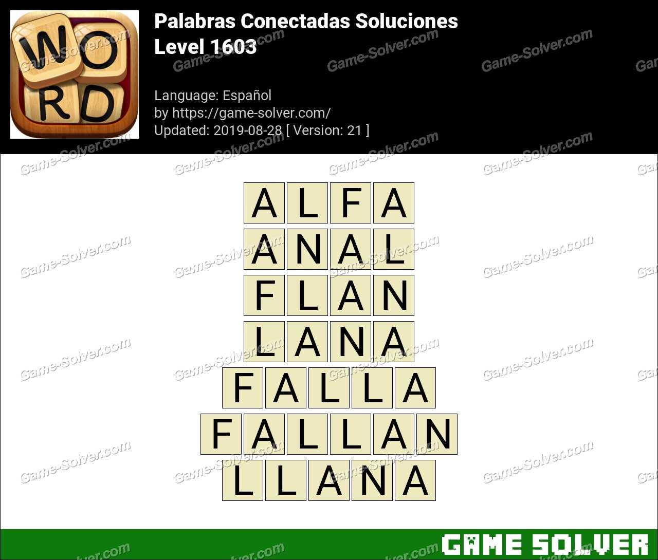 Palabras Conectadas Nivel 1603 Soluciones