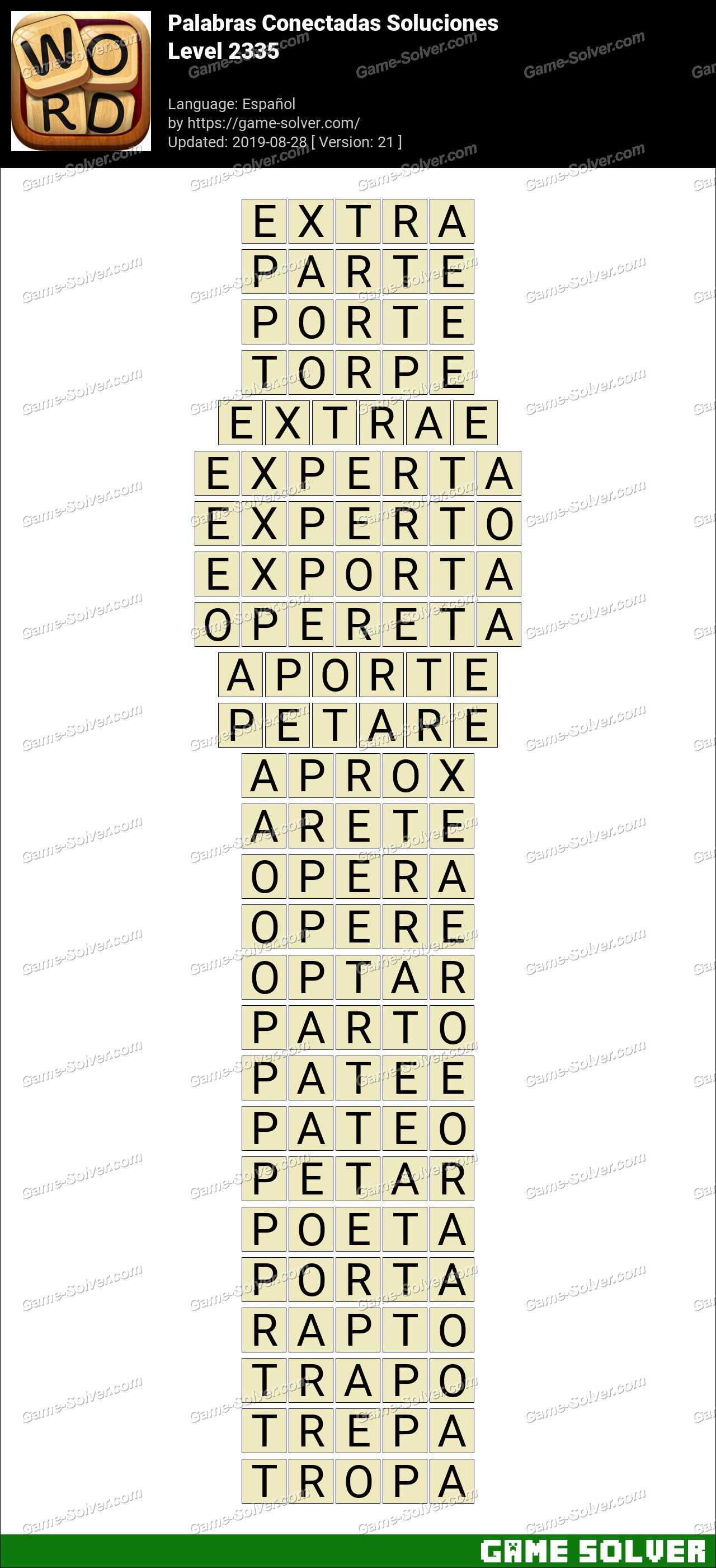 Palabras Conectadas Nivel 2335 Soluciones