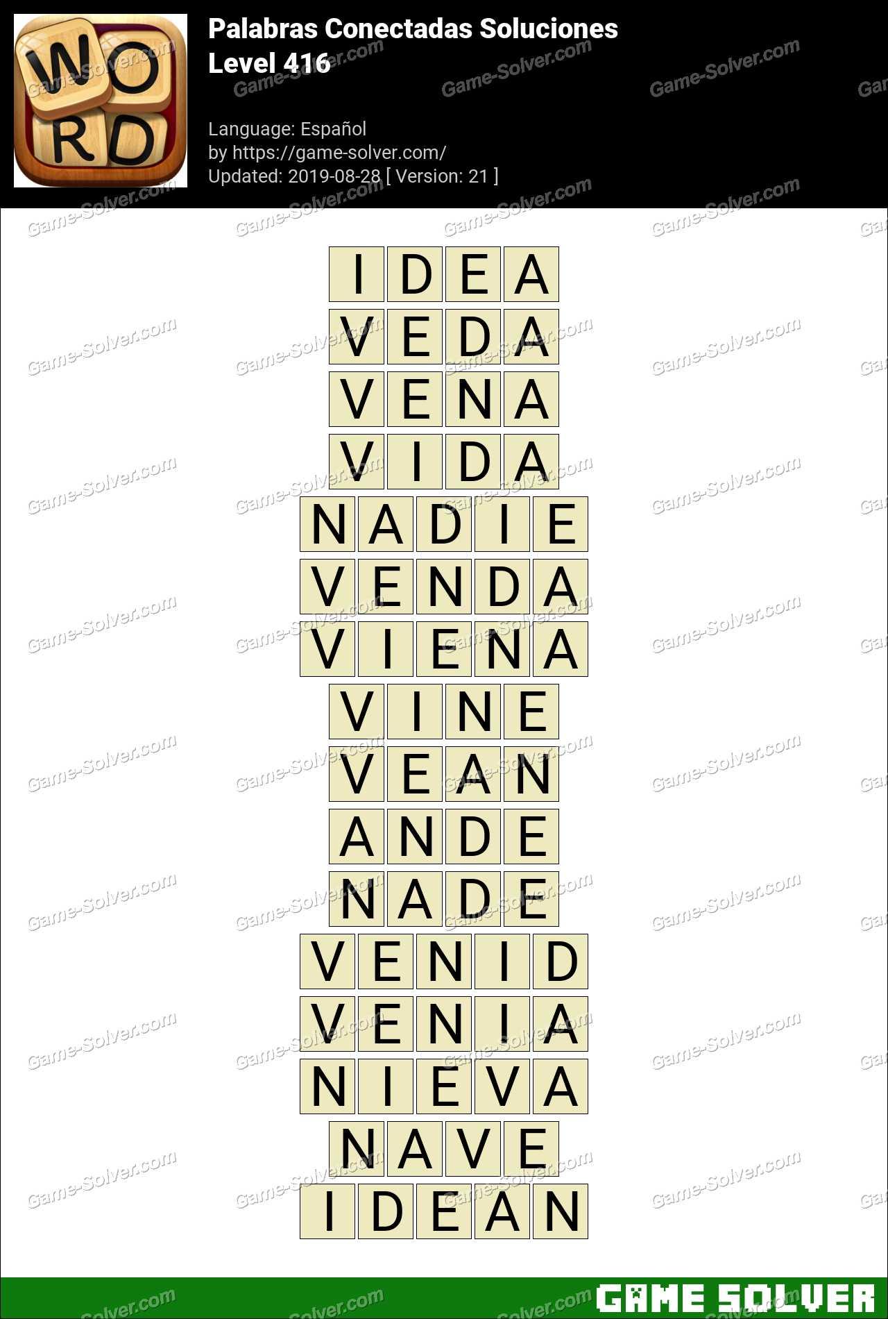 Palabras Conectadas Nivel 416 Soluciones