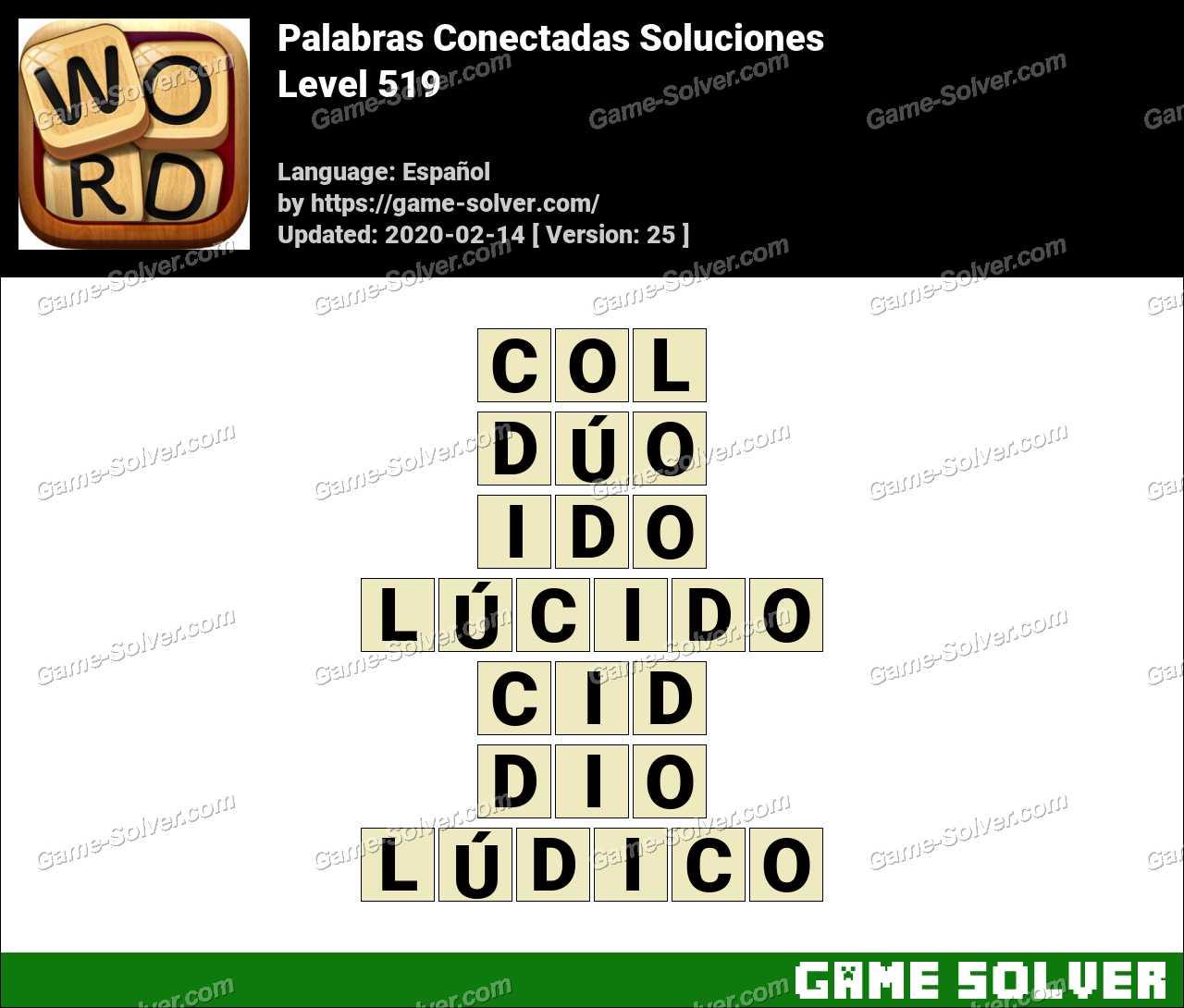 Palabras Conectadas Nivel 519 Soluciones
