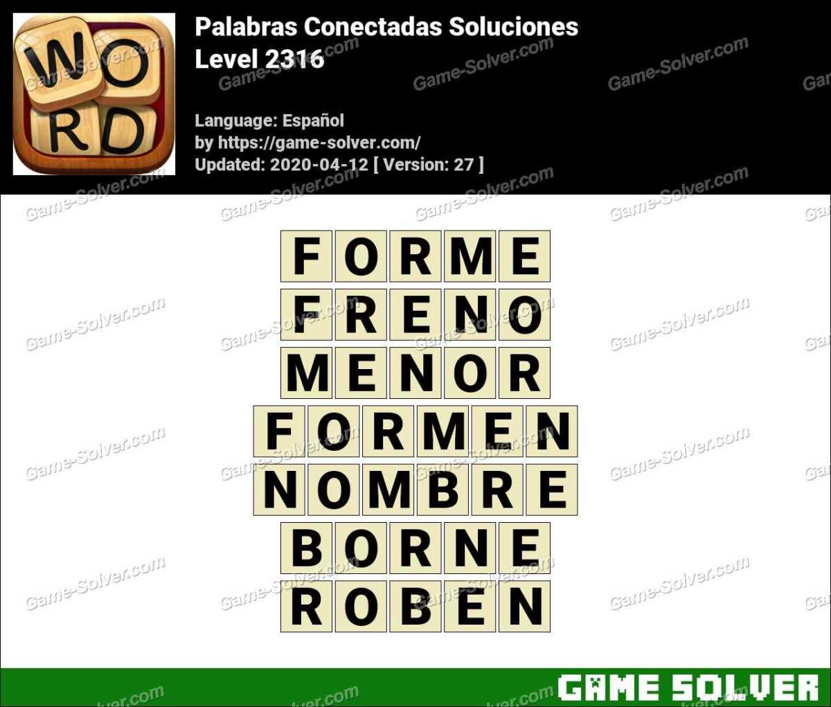Palabras Conectadas Nivel 2316 Soluciones