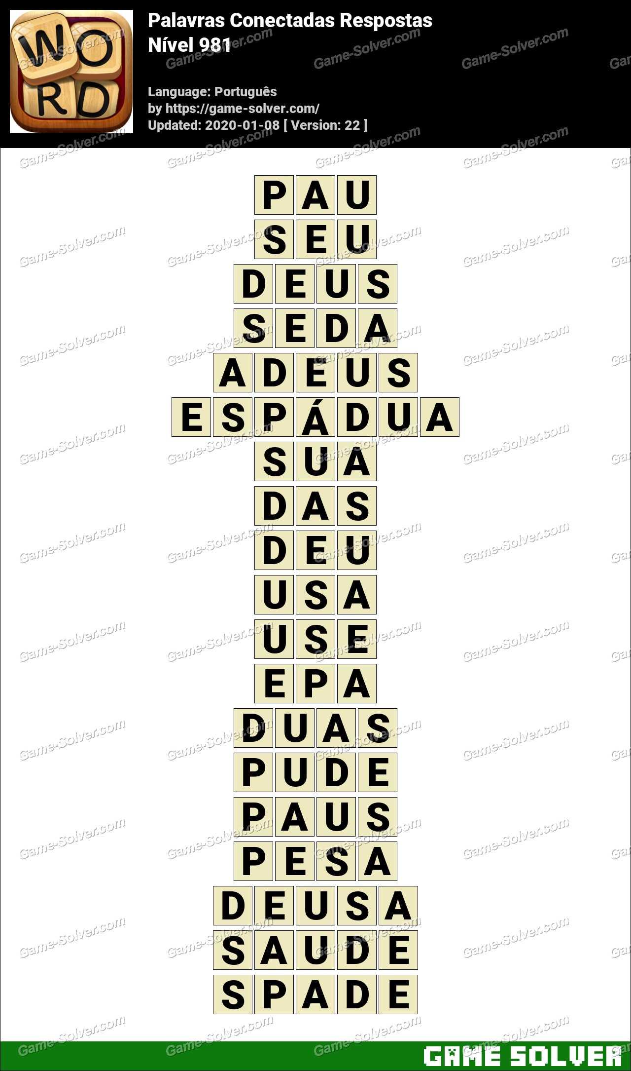 Palavras Conectadas Nivel 981 Respostas