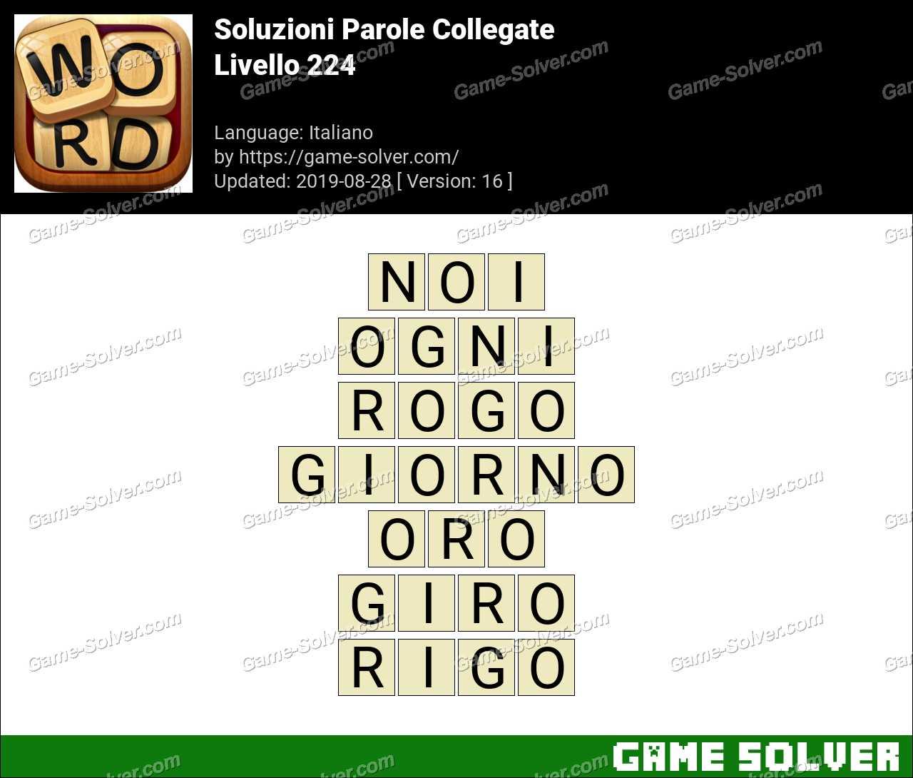 Soluzioni Parole Collegate Livello 224