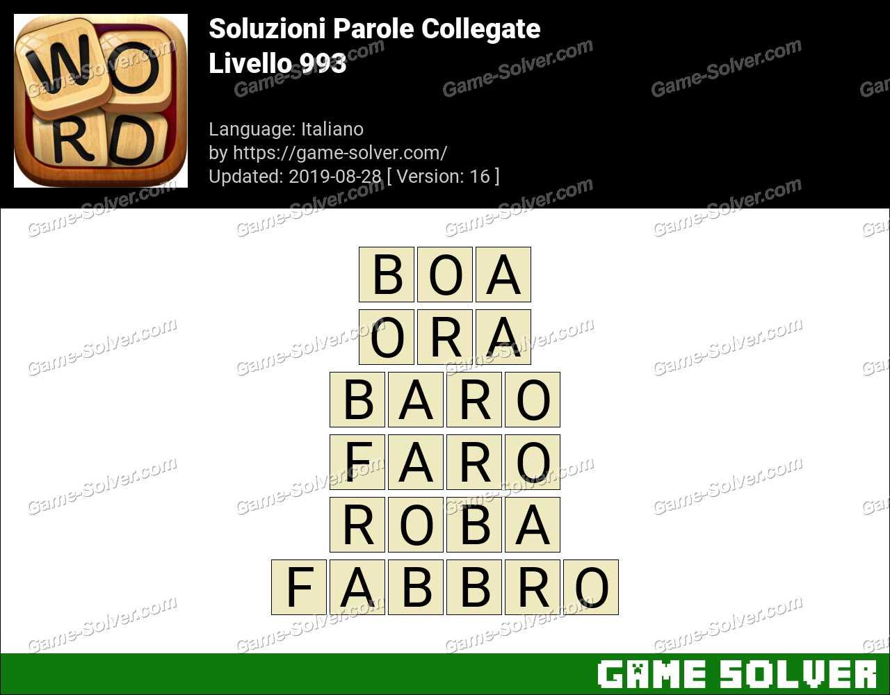Soluzioni Parole Collegate Livello 993