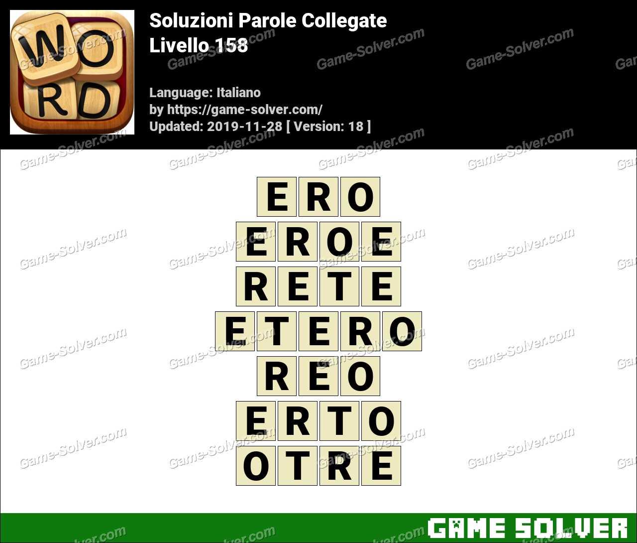 Soluzioni Parole Collegate Livello 158