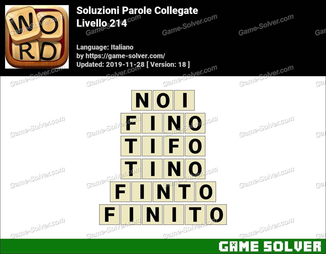 Soluzioni Parole Collegate Livello 214