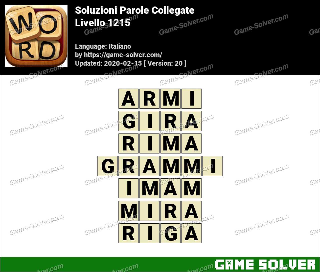 Soluzioni Parole Collegate Livello 1215