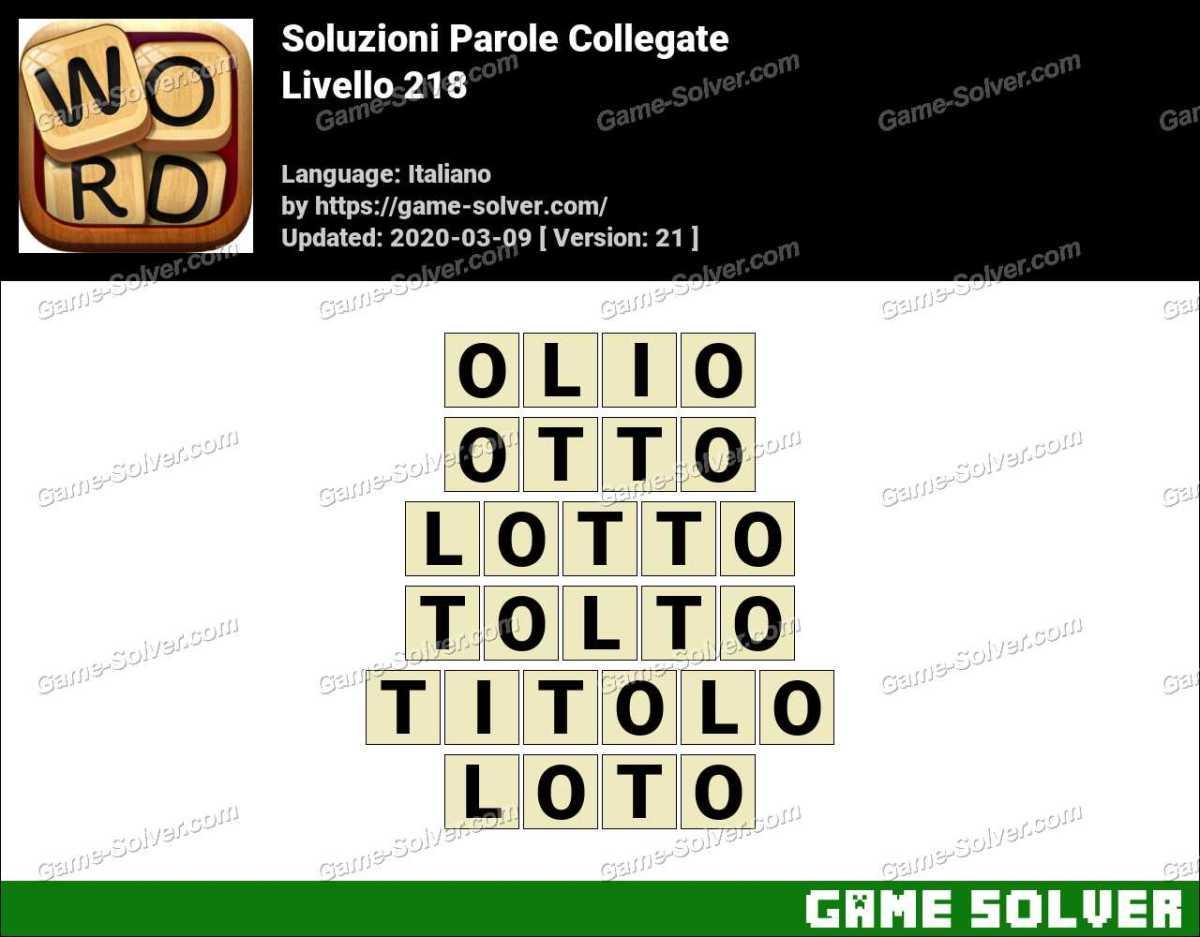 Soluzioni Parole Collegate Livello 218