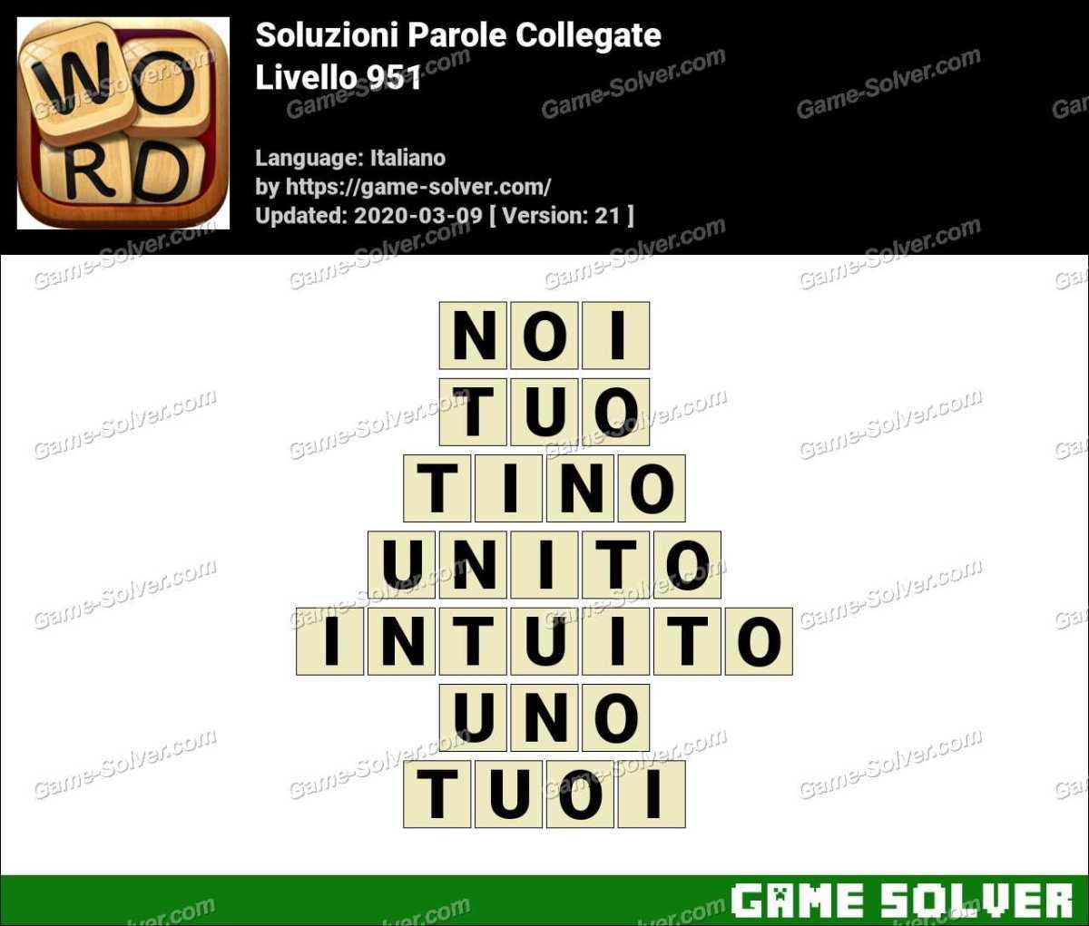 Soluzioni Parole Collegate Livello 951