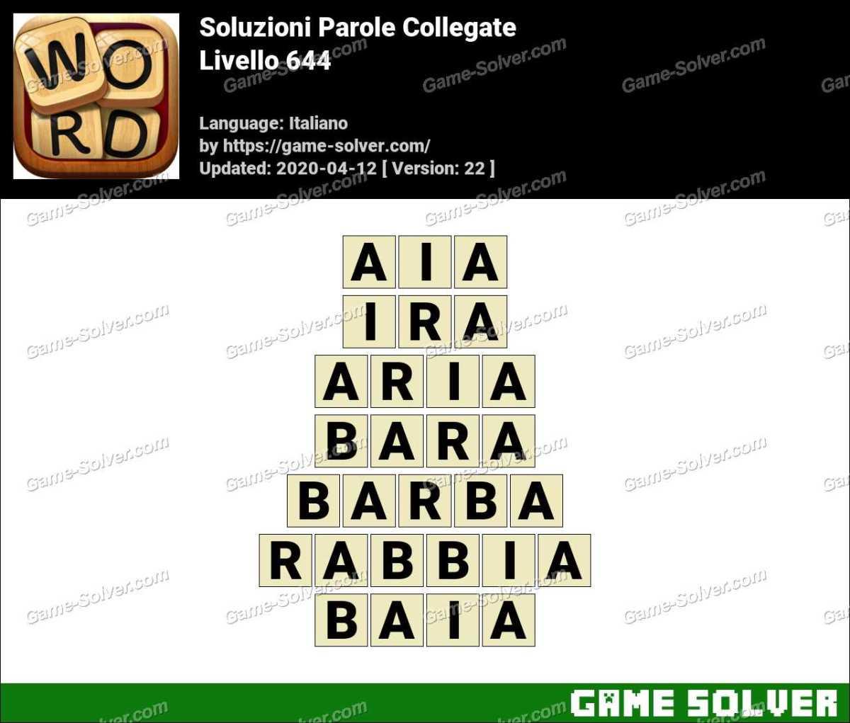 Soluzioni Parole Collegate Livello 644