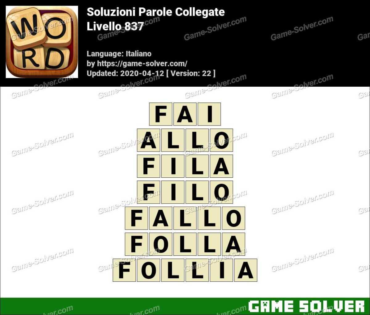 Soluzioni Parole Collegate Livello 837