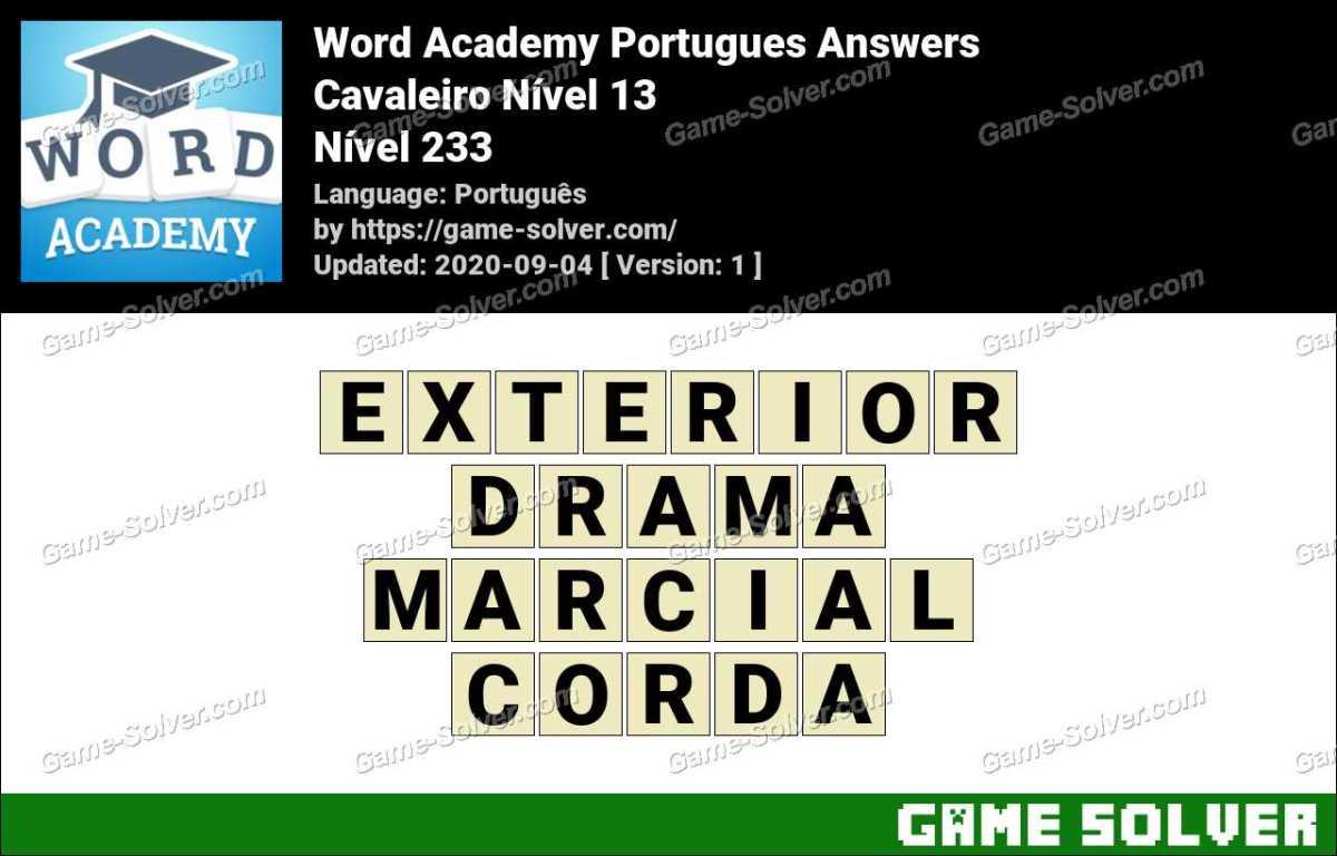 Word Academy Portugues Cavaleiro Nível 13 Answers
