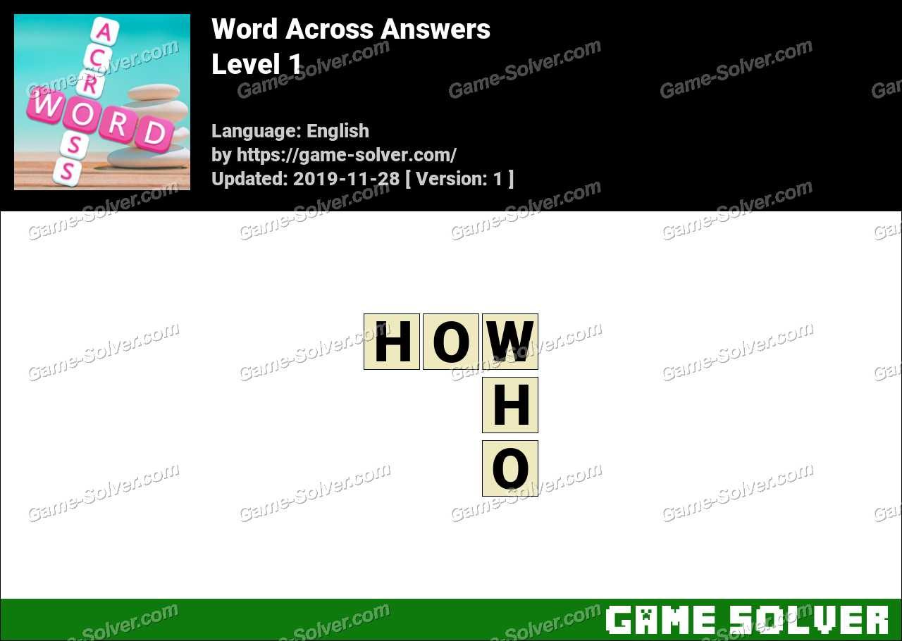 Word Across Level 1 Answers