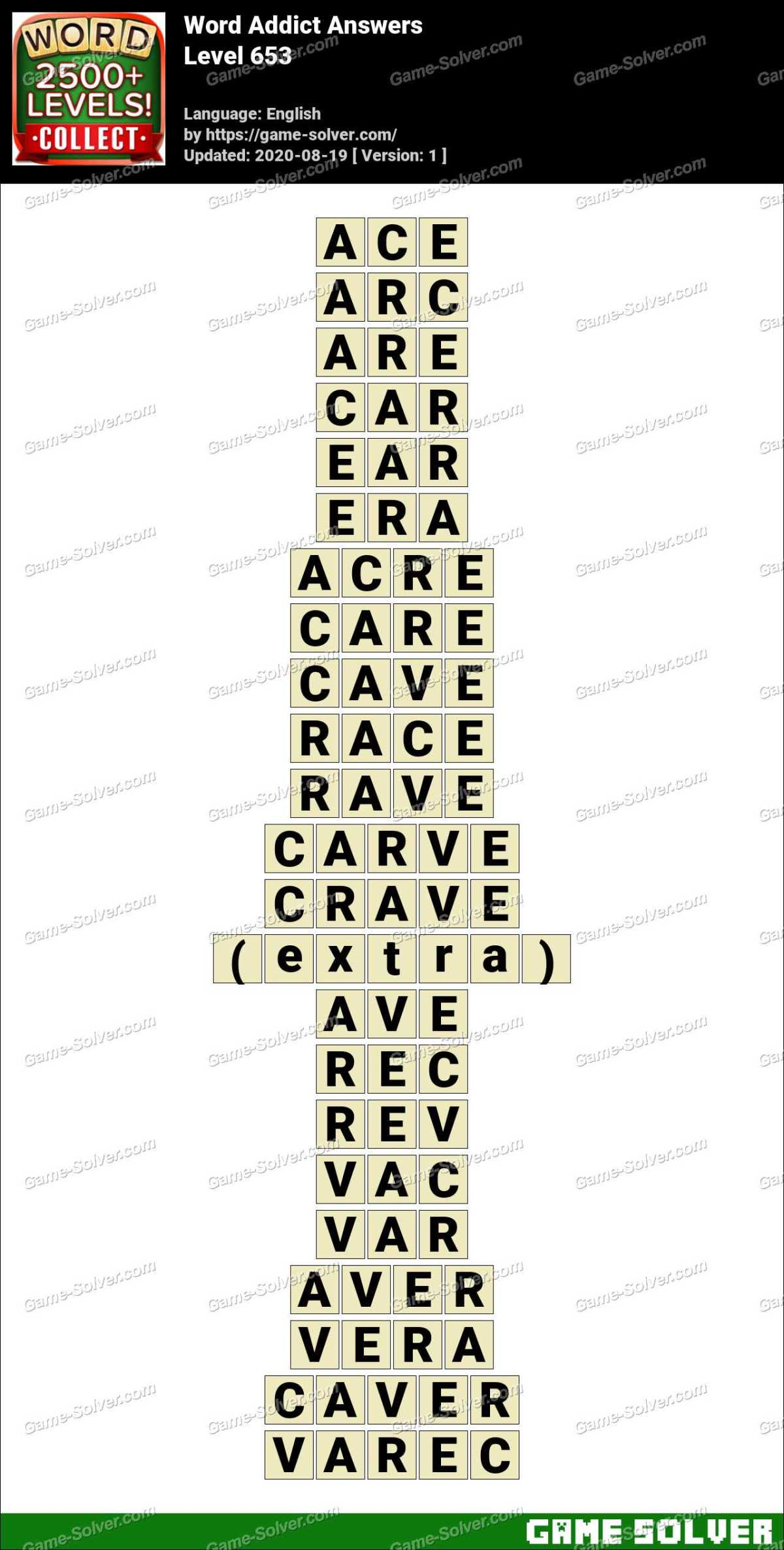 Word Addict Level 653 Answers