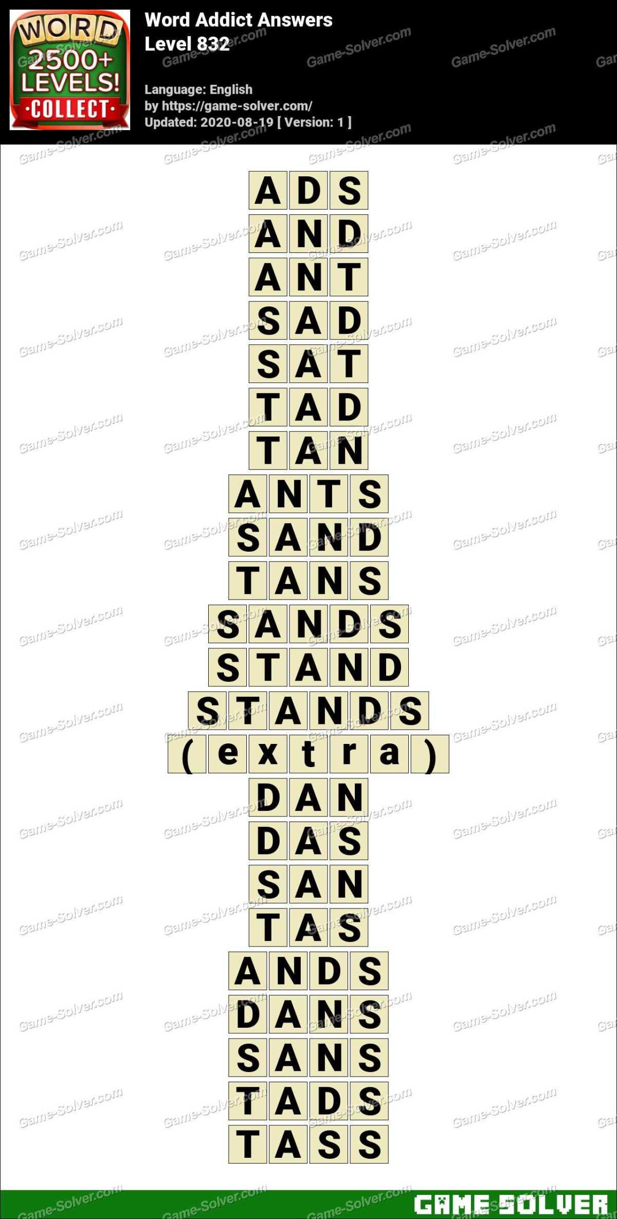 Word Addict Level 832 Answers