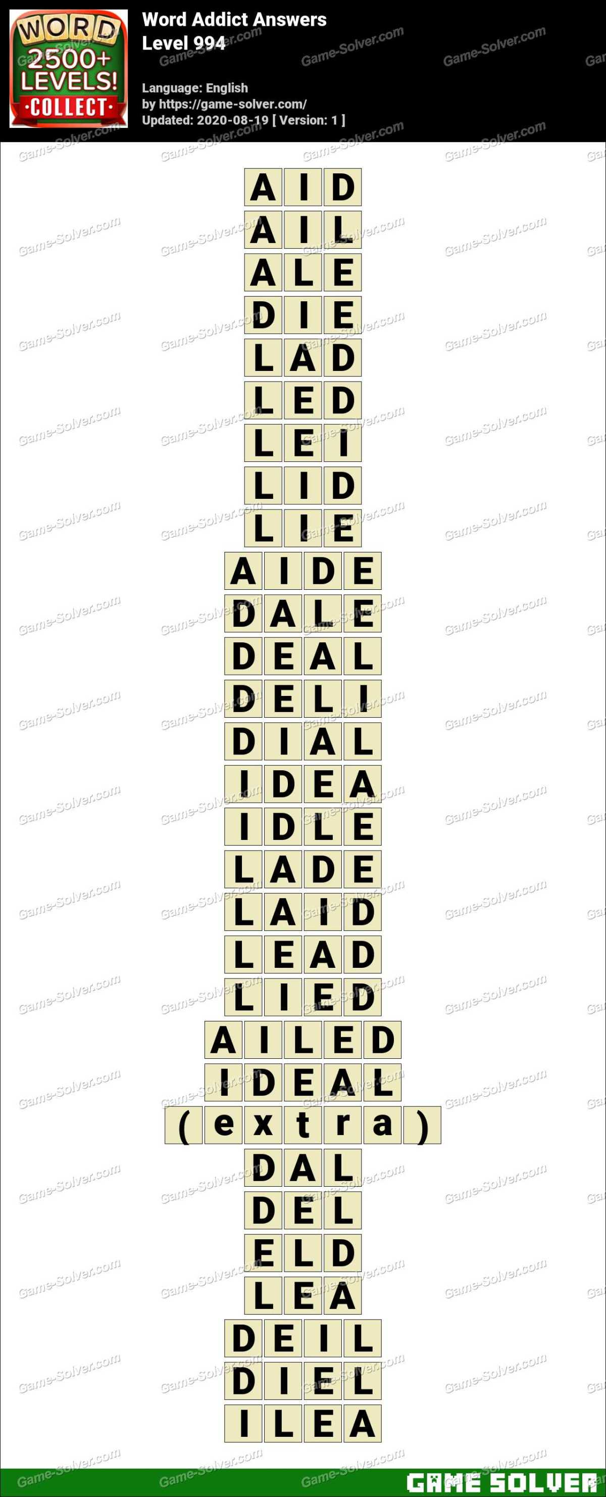 Word Addict Level 994 Answers