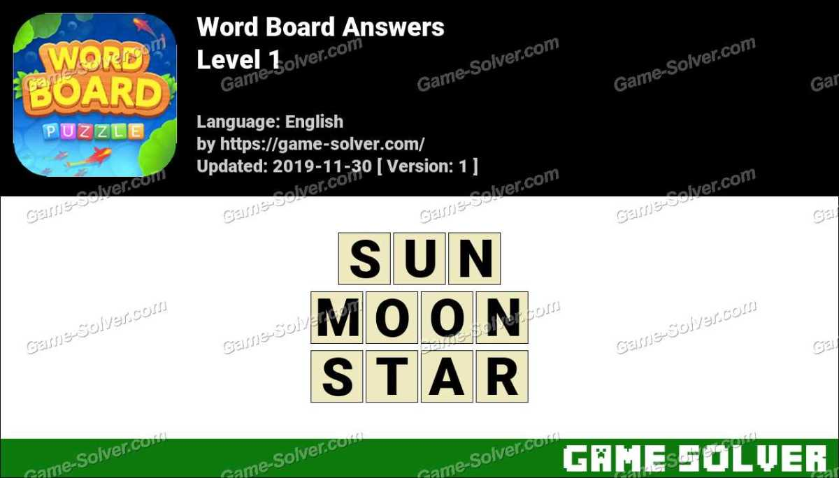 Word Board Level 1 Answers