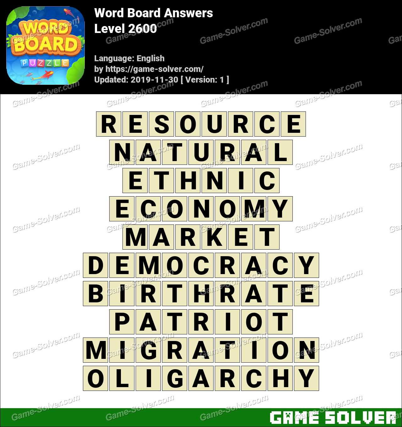 Word Board Level 2600 Answers