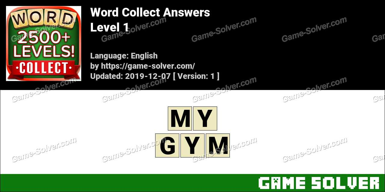 Word Collect Level 1 Answers