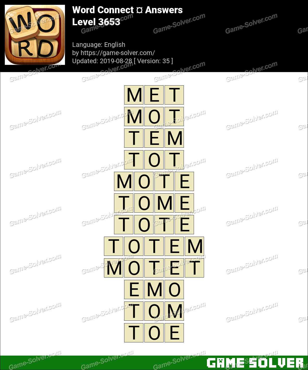 Word Connect Level 3653 Answers