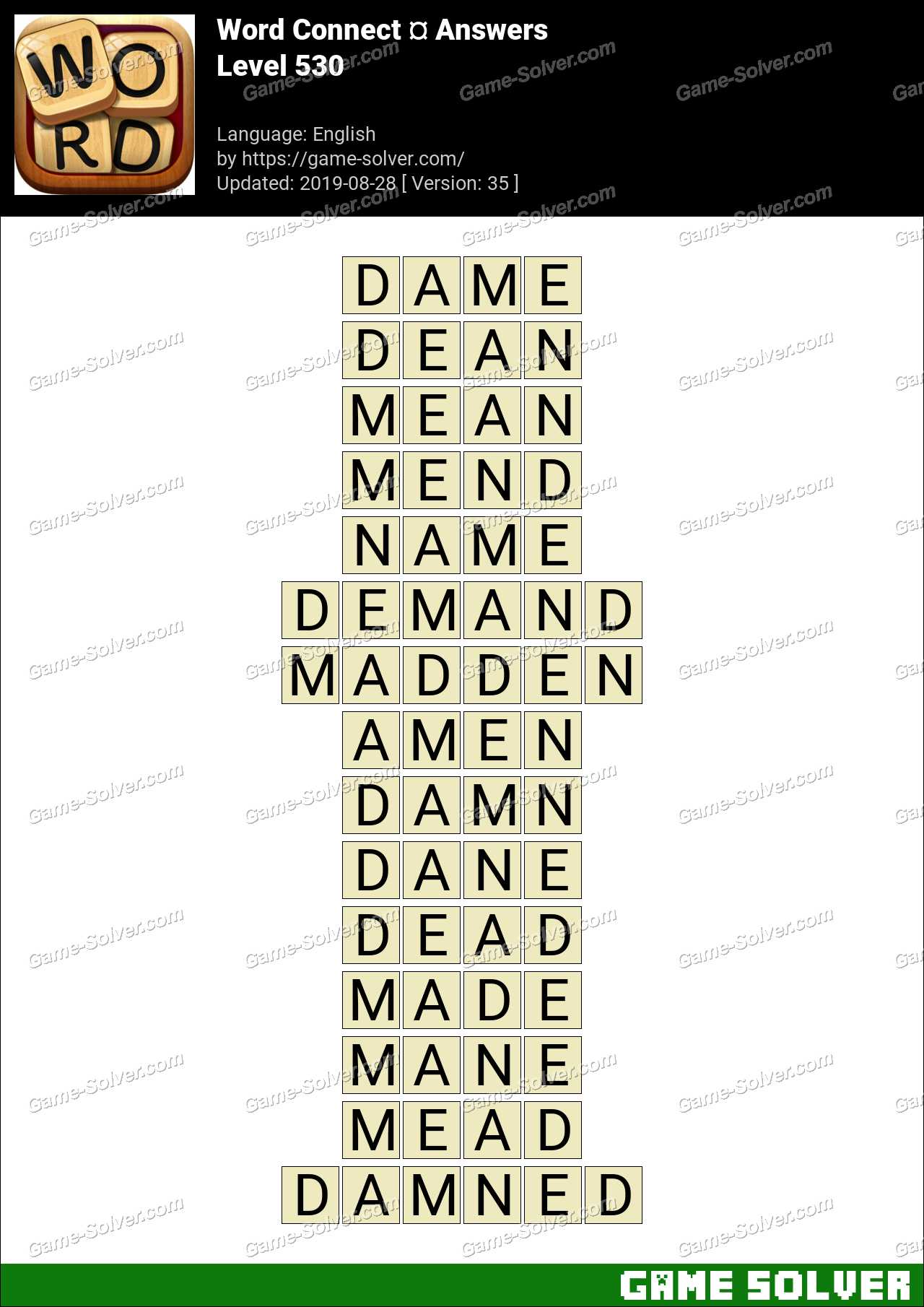 Word Connect Level 530 Answers
