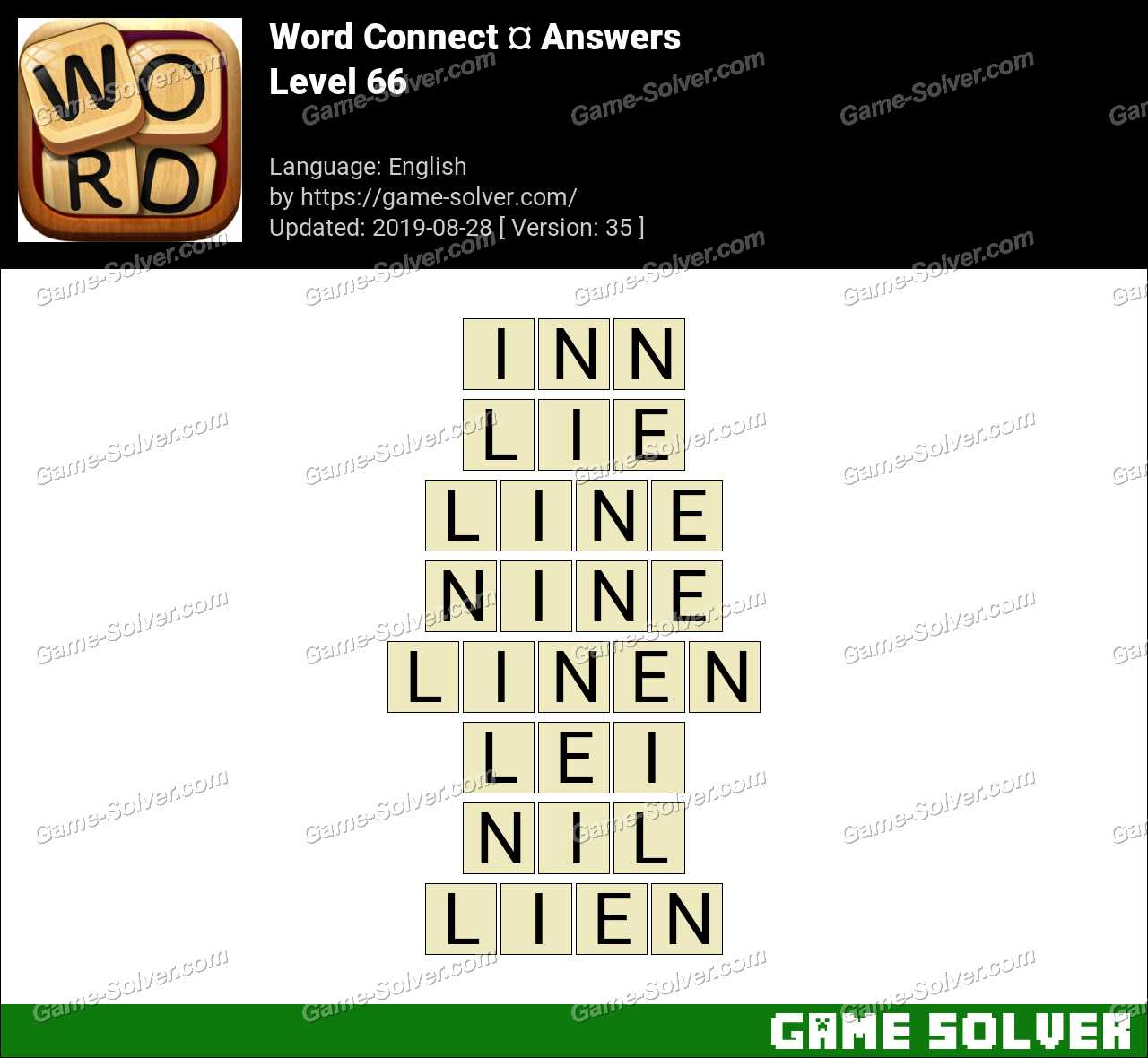 Word Connect Level 66 Answers - Game Solver