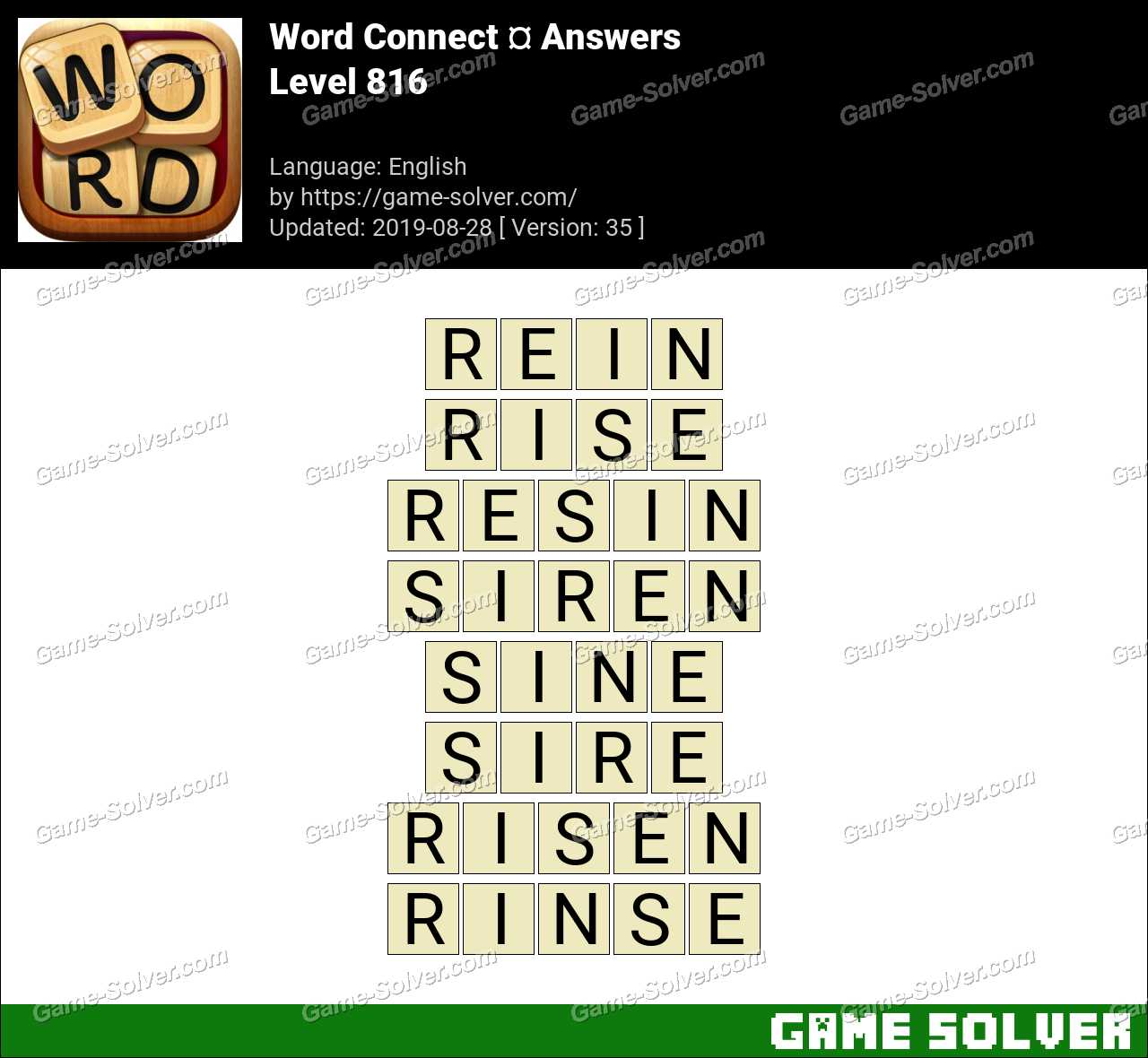 Word Connect Level 816 Answers