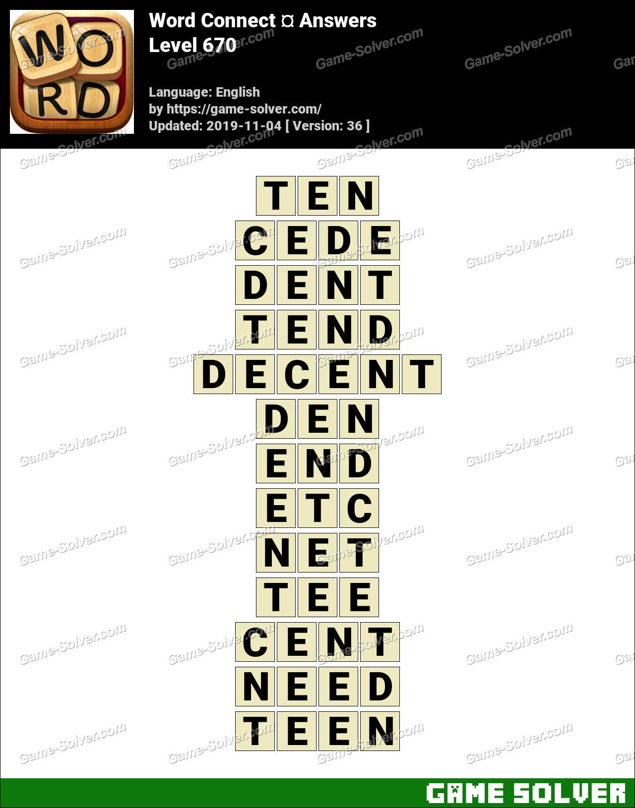 Word Connect Level 670 Answers