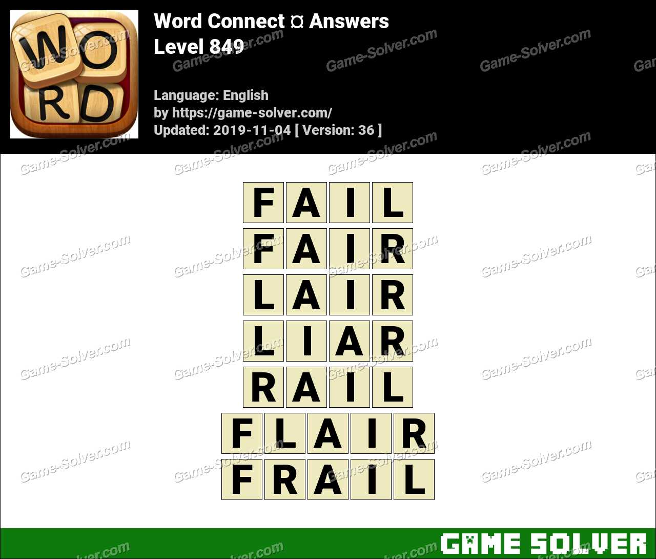 Word Connect Level 849 Answers