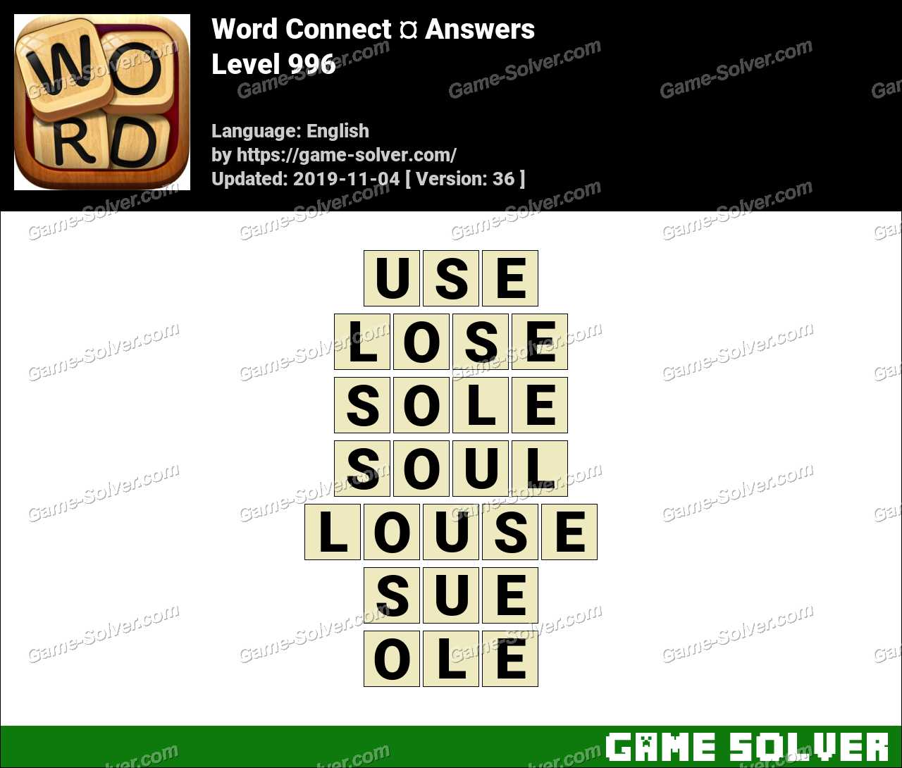Word Connect Level 996 Answers