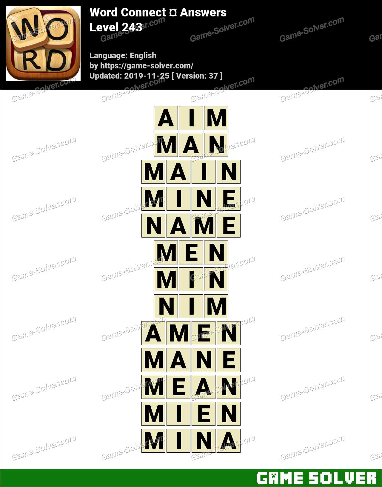 Word Connect Level 243 Answers
