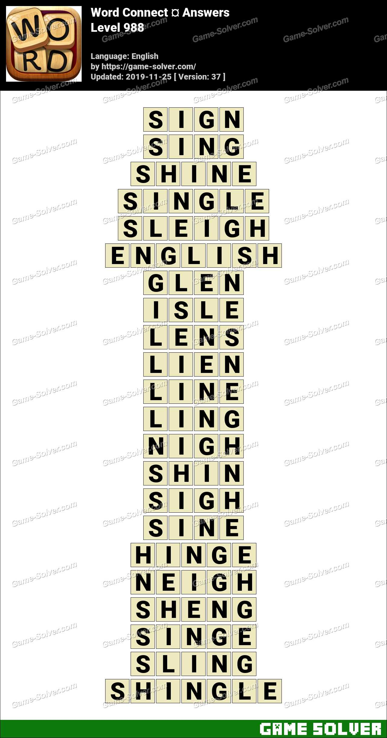 Word Connect Level 988 Answers