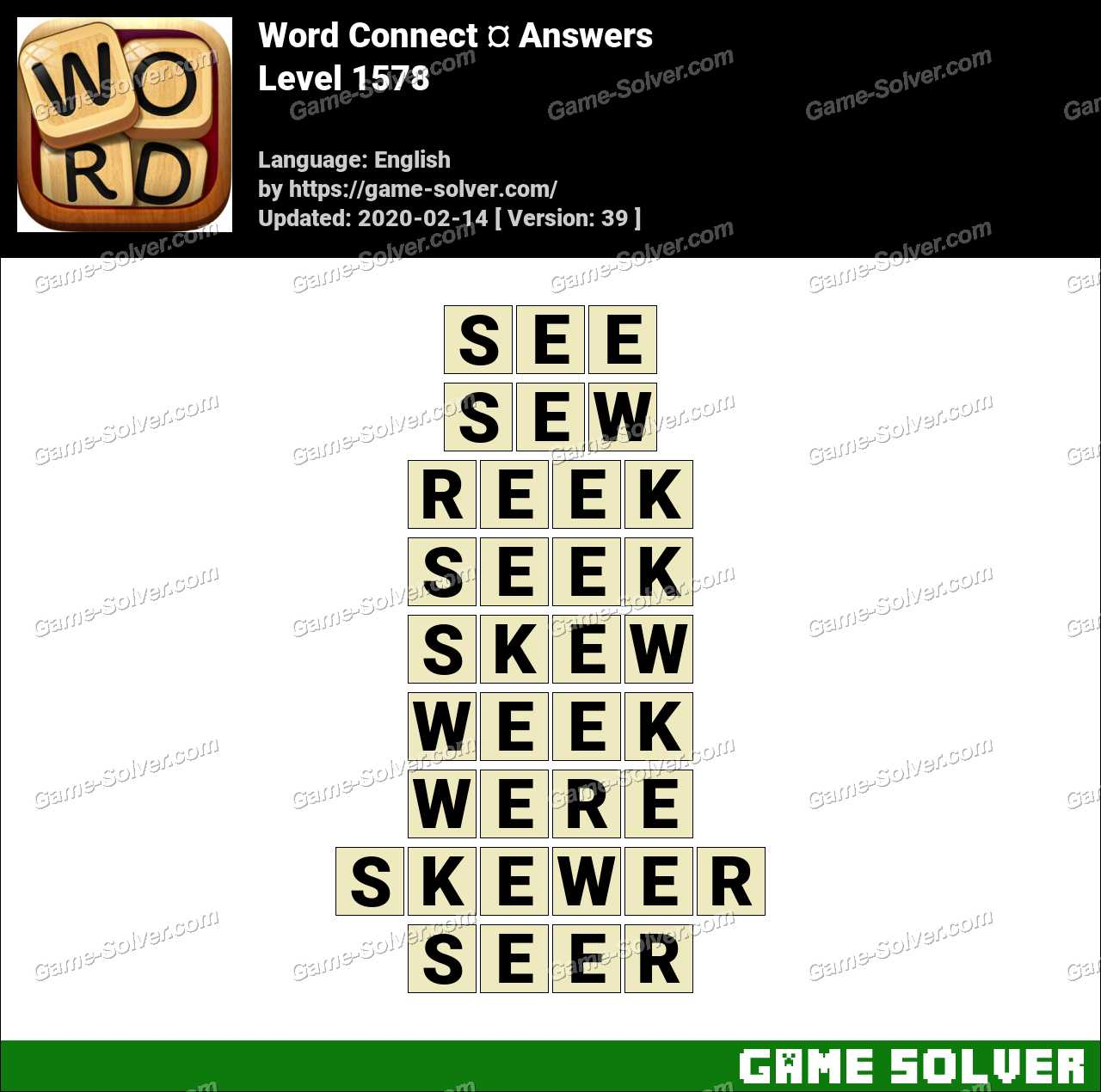 Word Connect Level 1578 Answers
