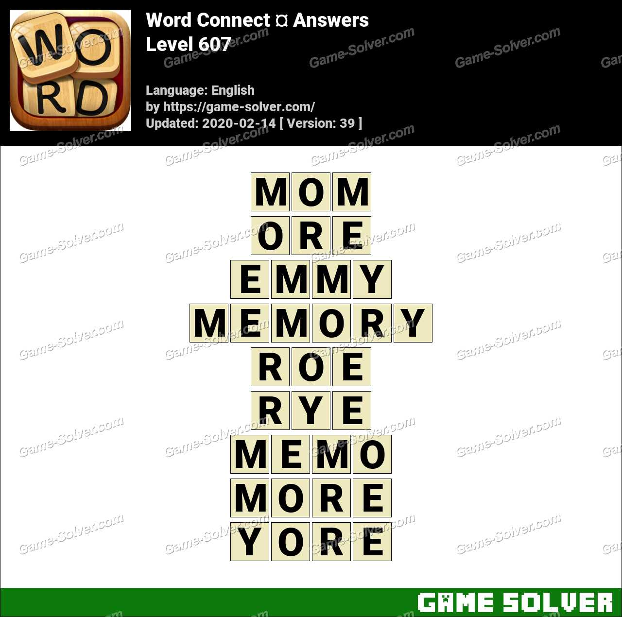 Word Connect Level 607 Answers
